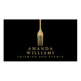 Elegant Faux Gold Fork Catering Logo on Black
