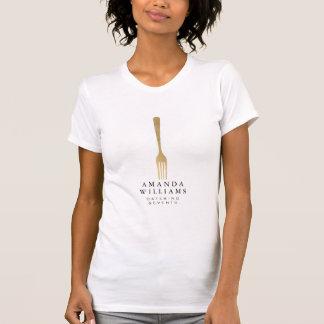 Elegant Faux Gold Fork Catering Logo T-Shirt