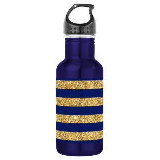 Elegant Faux Gold Glitter and Blue Stripe Pattern 532 Ml Water Bottle