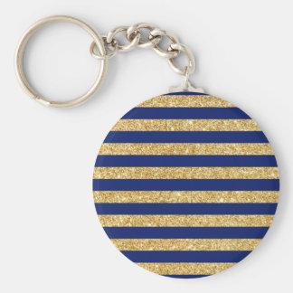 Elegant Faux Gold Glitter and Blue Stripe Pattern Basic Round Button Keychain