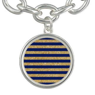 Elegant Faux Gold Glitter and Blue Stripe Pattern Bracelet