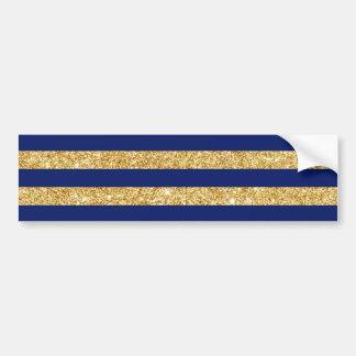 Elegant Faux Gold Glitter and Blue Stripe Pattern Bumper Sticker