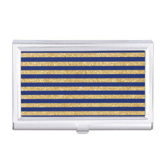 Elegant Faux Gold Glitter and Blue Stripe Pattern Business Card Holder