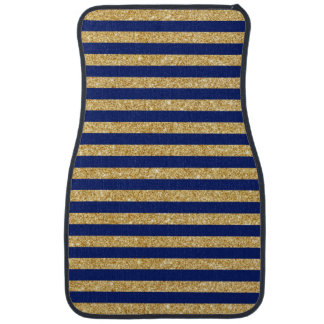 Elegant Faux Gold Glitter and Blue Stripe Pattern Car Carpet
