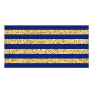 Elegant Faux Gold Glitter and Blue Stripe Pattern Card