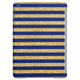 Elegant Faux Gold Glitter and Blue Stripe Pattern Case For iPad Air