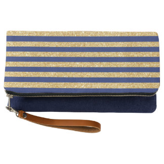 Elegant Faux Gold Glitter and Blue Stripe Pattern Clutch