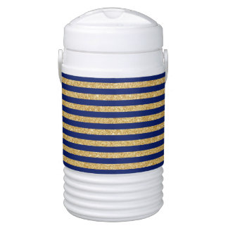 Elegant Faux Gold Glitter and Blue Stripe Pattern Cooler