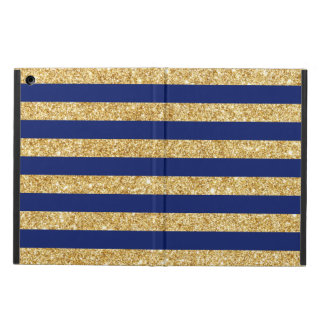 Elegant Faux Gold Glitter and Blue Stripe Pattern Cover For iPad Air