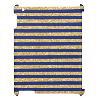 Elegant Faux Gold Glitter and Blue Stripe Pattern Cover For The iPad