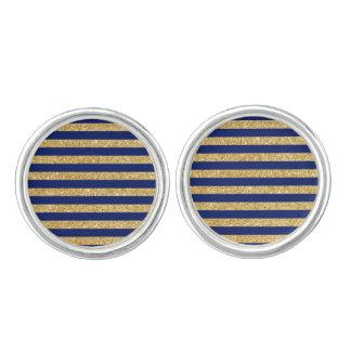Elegant Faux Gold Glitter and Blue Stripe Pattern Cufflinks