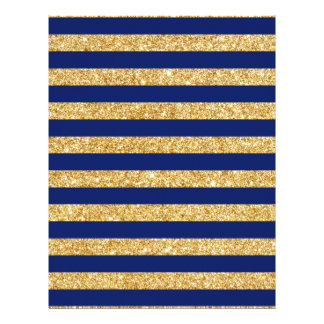 Elegant Faux Gold Glitter and Blue Stripe Pattern Custom Letterhead