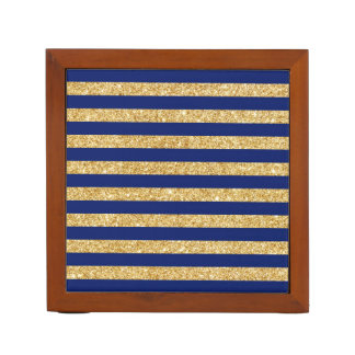 Elegant Faux Gold Glitter and Blue Stripe Pattern Desk Organizer
