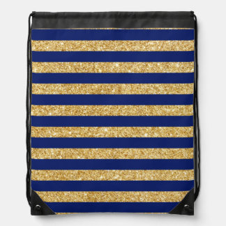 Elegant Faux Gold Glitter and Blue Stripe Pattern Drawstring Bag