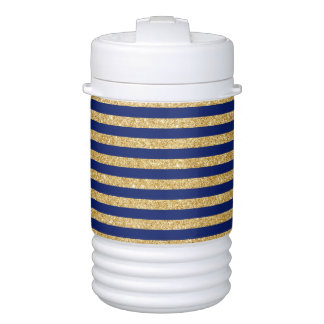 Elegant Faux Gold Glitter and Blue Stripe Pattern Drinks Cooler