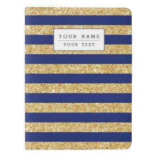 Elegant Faux Gold Glitter and Blue Stripe Pattern Extra Large Moleskine Notebook