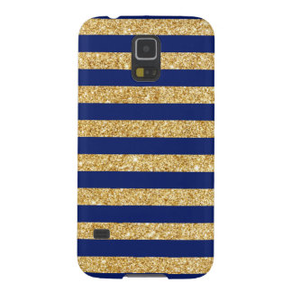 Elegant Faux Gold Glitter and Blue Stripe Pattern Galaxy S5 Covers