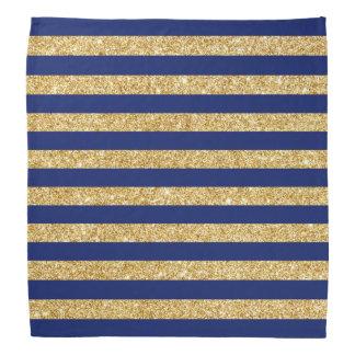 Elegant Faux Gold Glitter and Blue Stripe Pattern Head Kerchief