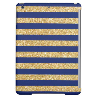 Elegant Faux Gold Glitter and Blue Stripe Pattern iPad Air Cases