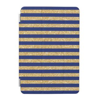 Elegant Faux Gold Glitter and Blue Stripe Pattern iPad Mini Cover