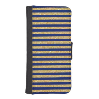 Elegant Faux Gold Glitter and Blue Stripe Pattern iPhone SE/5/5s Wallet Case