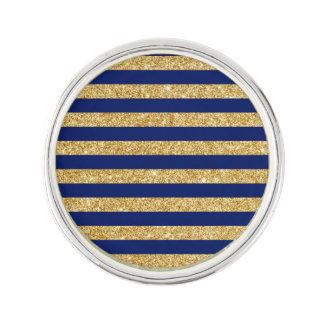 Elegant Faux Gold Glitter and Blue Stripe Pattern Lapel Pin