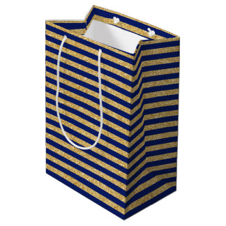 Elegant Faux Gold Glitter and Blue Stripe Pattern Medium Gift Bag