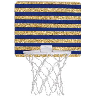 Elegant Faux Gold Glitter and Blue Stripe Pattern Mini Basketball Hoop