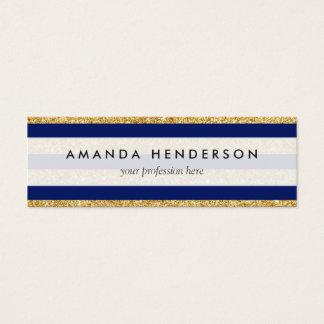 Elegant Faux Gold Glitter and Blue Stripe Pattern Mini Business Card