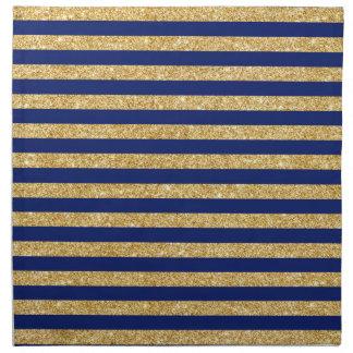Elegant Faux Gold Glitter and Blue Stripe Pattern Napkin