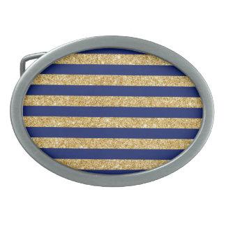 Elegant Faux Gold Glitter and Blue Stripe Pattern Oval Belt Buckle