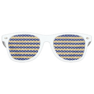 Elegant Faux Gold Glitter and Blue Stripe Pattern Party Shades