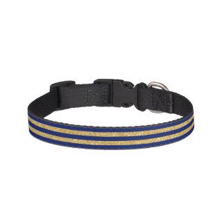 Elegant Faux Gold Glitter and Blue Stripe Pattern Pet Collar