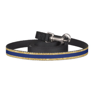 Elegant Faux Gold Glitter and Blue Stripe Pattern Pet Leash