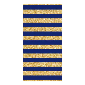 Elegant Faux Gold Glitter and Blue Stripe Pattern Photo Card Template
