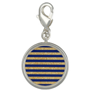 Elegant Faux Gold Glitter and Blue Stripe Pattern Photo Charms