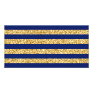 Elegant Faux Gold Glitter and Blue Stripe Pattern Photo Greeting Card