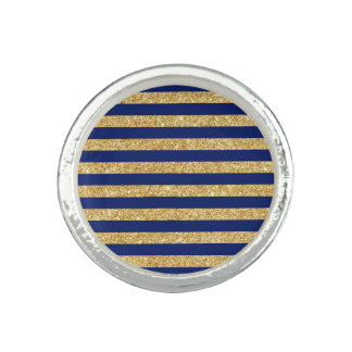 Elegant Faux Gold Glitter and Blue Stripe Pattern Photo Ring