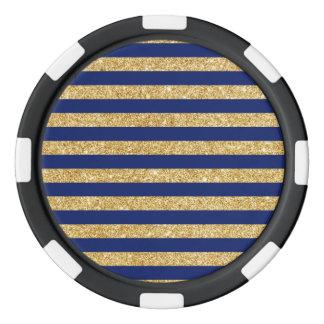 Elegant Faux Gold Glitter and Blue Stripe Pattern Poker Chips