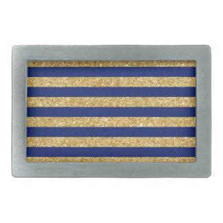 Elegant Faux Gold Glitter and Blue Stripe Pattern Rectangular Belt Buckle