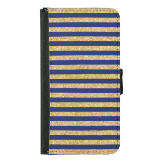 Elegant Faux Gold Glitter and Blue Stripe Pattern Samsung Galaxy S5 Wallet Case