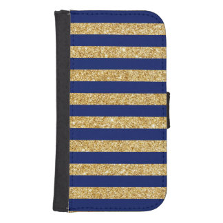 Elegant Faux Gold Glitter and Blue Stripe Pattern Samsung S4 Wallet Case
