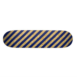 Elegant Faux Gold Glitter and Blue Stripe Pattern Skateboards