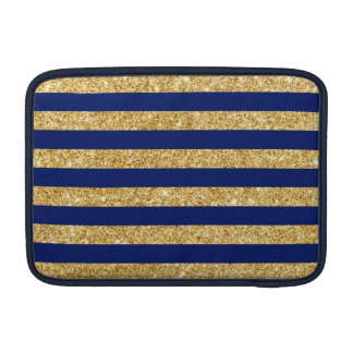 Elegant Faux Gold Glitter and Blue Stripe Pattern Sleeve For MacBook Air