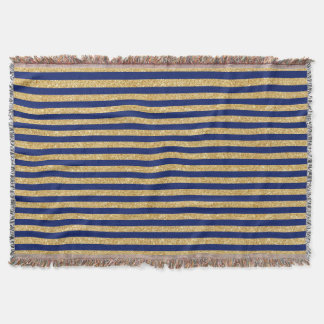Elegant Faux Gold Glitter and Blue Stripe Pattern Throw Blanket