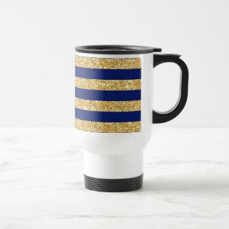 Elegant Faux Gold Glitter and Blue Stripe Pattern Travel Mug
