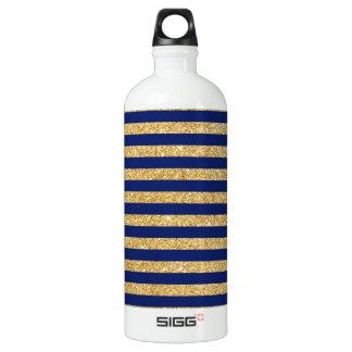Elegant Faux Gold Glitter and Blue Stripe Pattern Water Bottle