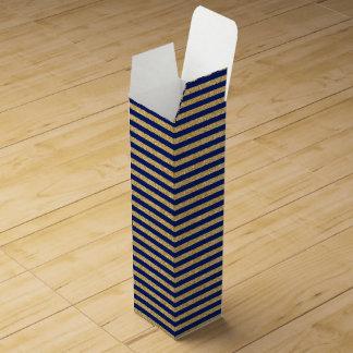 Elegant Faux Gold Glitter and Blue Stripe Pattern Wine Box