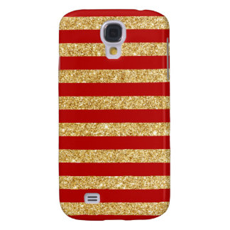 Elegant Faux Gold Glitter and Red Stripe Pattern