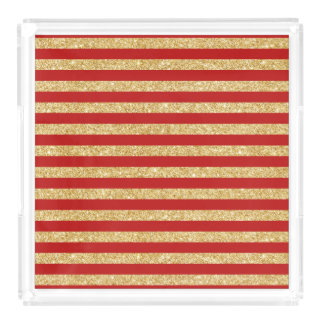 Elegant Faux Gold Glitter and Red Stripe Pattern Acrylic Tray
